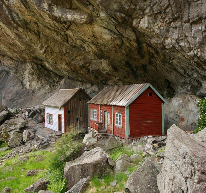"""Looming overhead....Mountain seders """"HELLEREN""""  Close to Flekkefjord, Norway. Kinda Scary!"""
