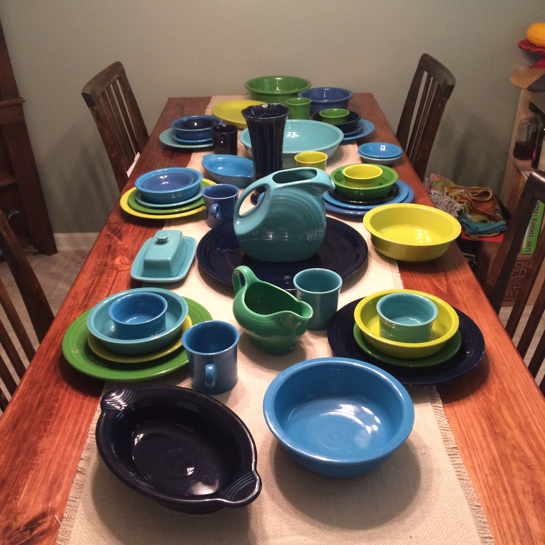 Cool Colored Fiesta Ware Shamrock Lemongrass Turquoise Lapis