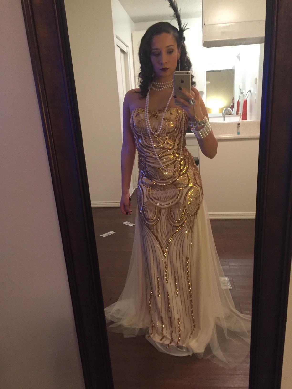 2ccbf8c20a8 Angel-fashions Women's Sequin Gold Mesh Lace up Banquet Dress | Amazon.com