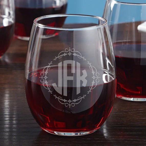 Wedding Monogram Stemless Wine Glass Personalized Wine Glass