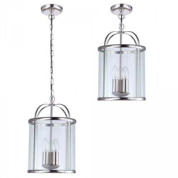 Pendant ceiling 3 light hall lantern polished chrome from litecraft
