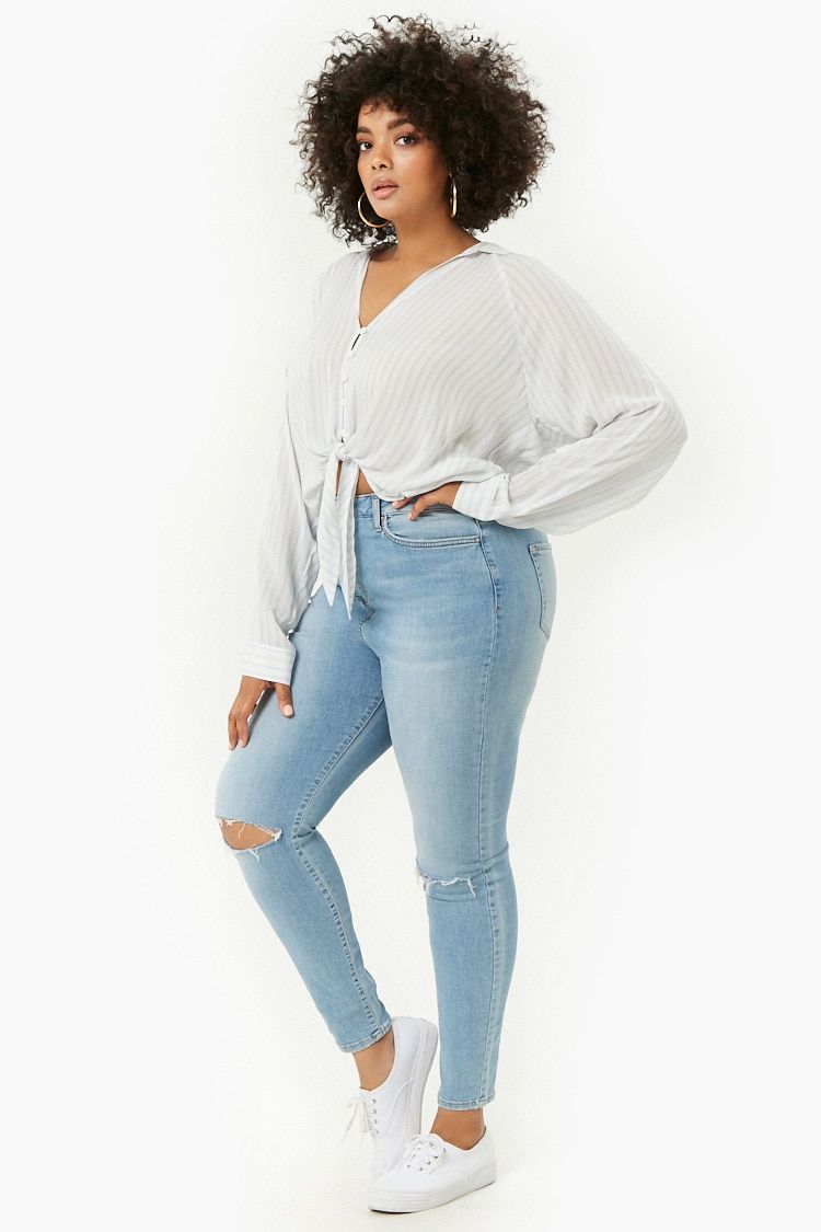 fce32fe9655 Product Name Plus Size Ripped Knee Jeans