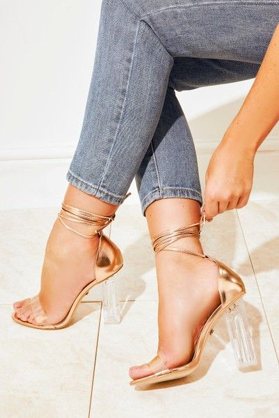 941cb09d3883 Ava Rose Gold Perspex Chunky Heel Ankle Wrap Clear Strap Heels