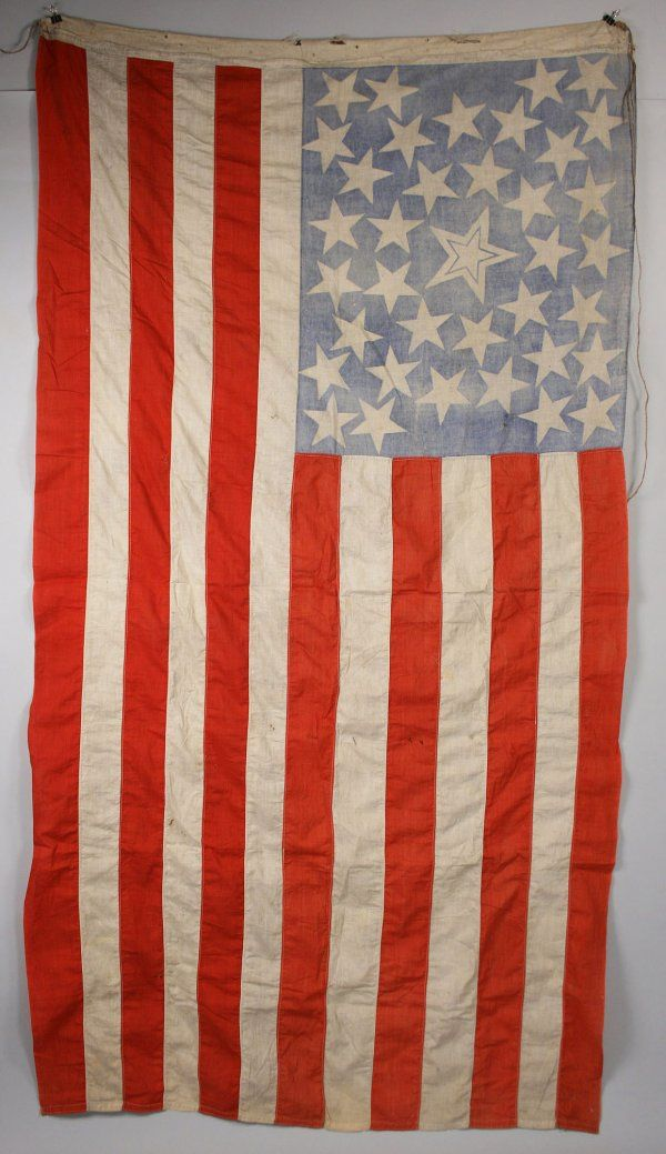 470221f06745 Hand sewn thirty-eight (38) star cotton United States American flag