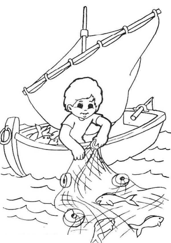 Fisherman Catching Fish With Fishing Net Coloring Page Coloring Sky Kartun Warna Gambar