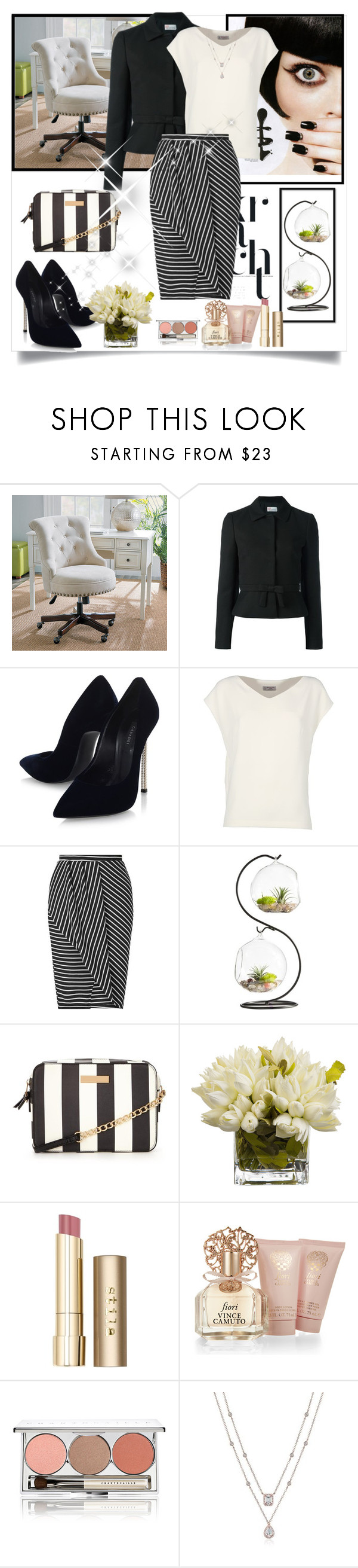 """Untitled #1192"" by misaflowers ❤ liked on Polyvore featuring Improvements, RED Valentino, Casadei, Alberto Biani, Miss Selfridge, Stila, Vince Camuto and Chantecaille"