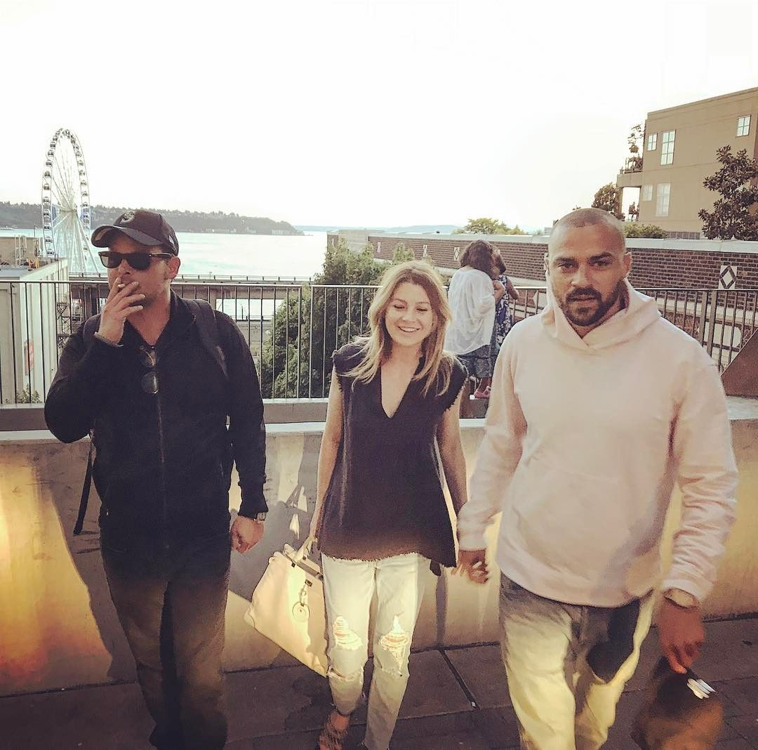 Justin Chambers Ellen Pompeo And Jesse Williams Filming Greys