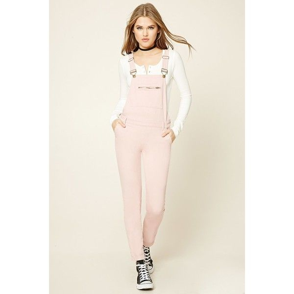 Forever21 Skinny Denim Overalls ($33) ❤ liked on Polyvore featuring  jumpsuits, dusty pink