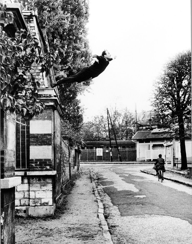 """Yves Klein """"Le Saut dans le vide"""" (Leap Into the Void), 1960. Modern Art Museum of Fort Worth """"Declaring Space: Mark Rothko, Barnett Newman, Lucio Fontana, Yves Klein"""" exhibit  Sep 30, 2007 - Jan 06, 2008  includes works by four artists whose images had a dramatic effect on the complex development of space and color in abstract painting as it evolved in the years following World War II."""
