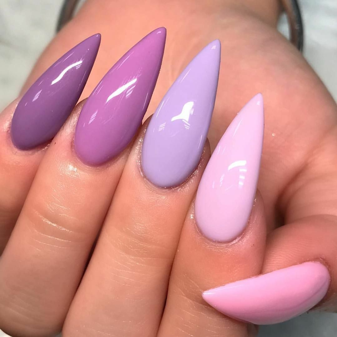 Stiletto Nails. Spring Nails. Lilac Nails. Pink Nails