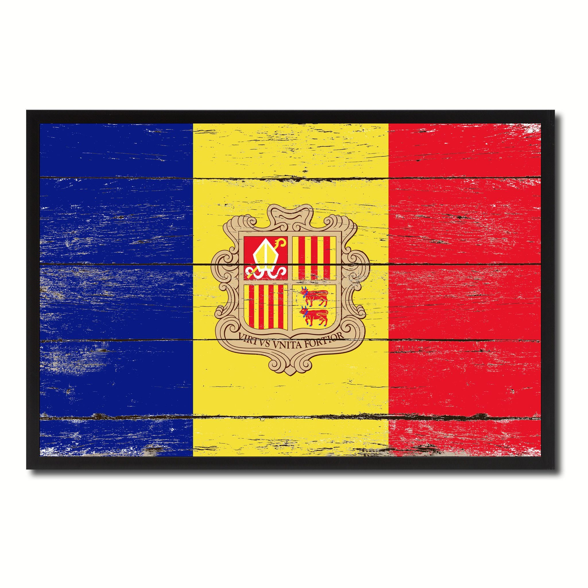 Andorra Country National Flag Vintage Canvas Print with Picture ...