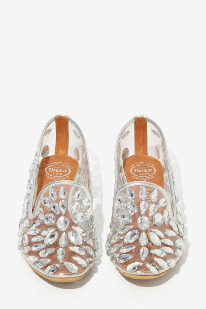 Jeffrey Campbell Elegant Jeweled Loafers - Silver -