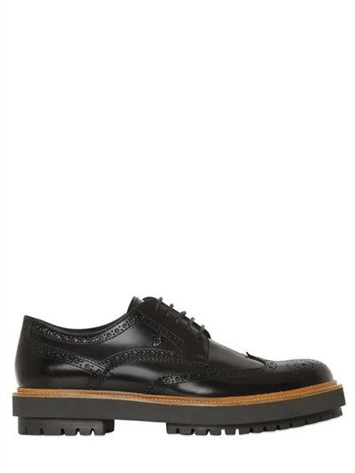 Brogues · TOD'S Brushed Leather Brogue Derby Shoes ...
