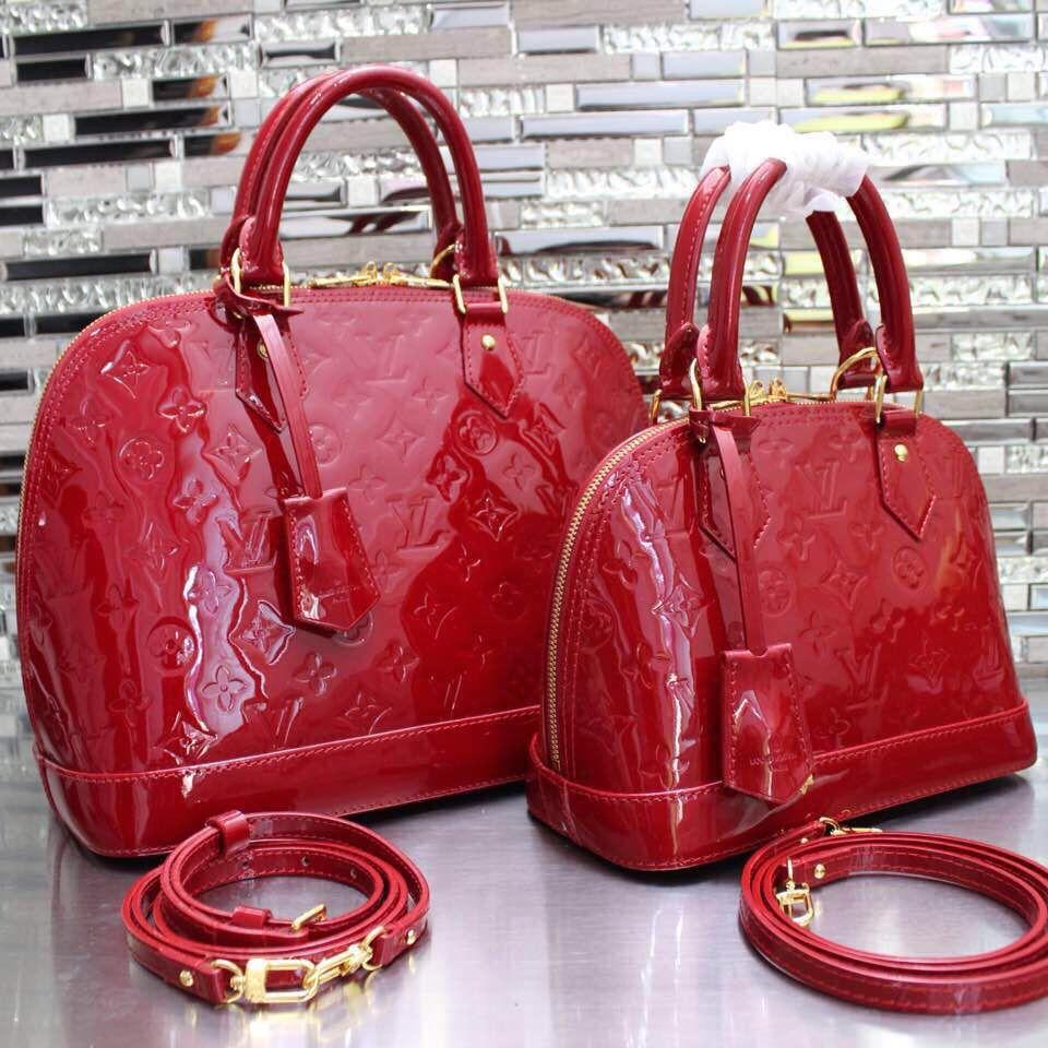 Louis Vuitton Luxe Monogram Vernis Alma Pm In Red M90300 Louis Vuitton Red Purse Louis Vuitton Alma Bag Louis Vuitton