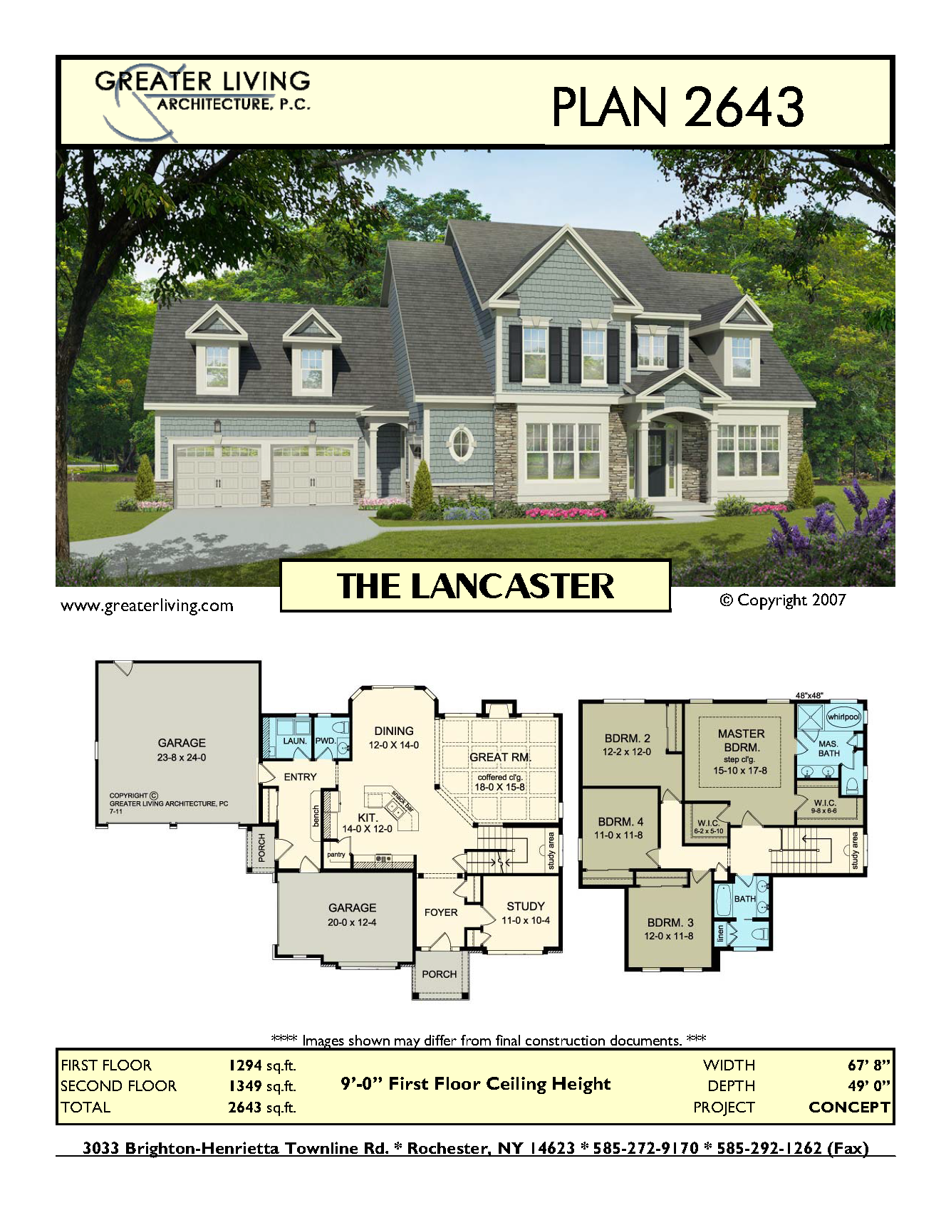 Plan 2643: THE LANCASTER - House Plans -  Two Story House Plans - 2 Story - Greater Living Architecture - Residential Architecture