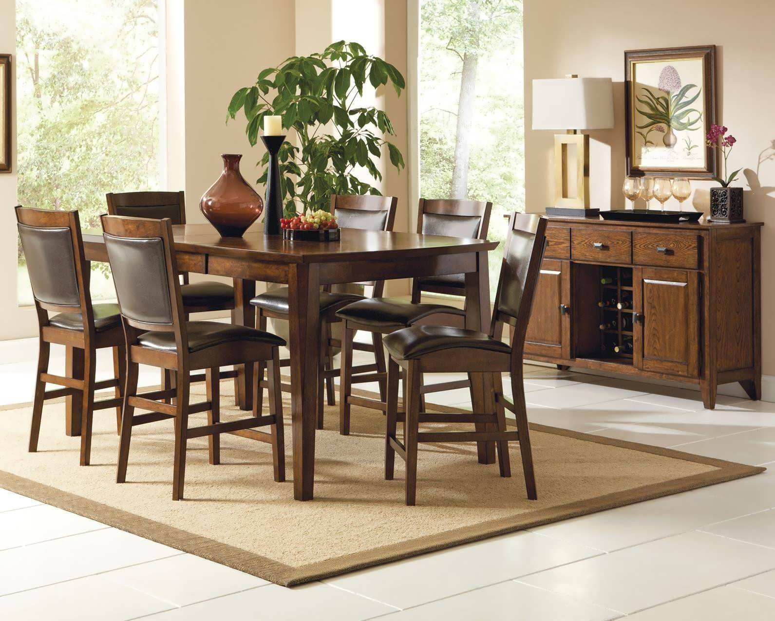 Elegant Counter Height Dining Sets Consist Of 5 Piece Counter Height Dining Set  Espresso Featured With 9