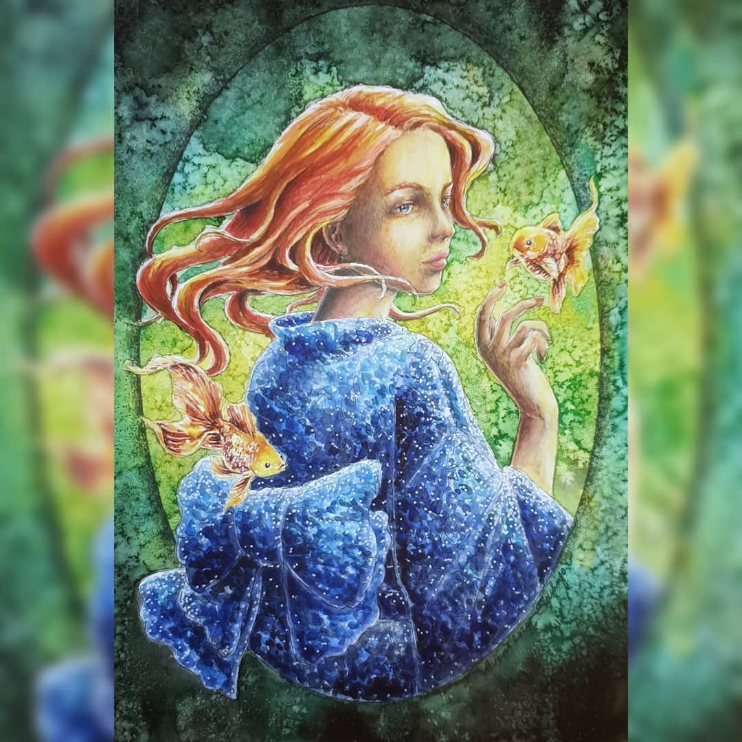 Gefallt 47 Mal 4 Kommentare Maria Koroleva Koroleva Maria Coloring Auf Instagram Page By Sachiyoart G Watercolor Salt And A Little Bit Of P Polychromos