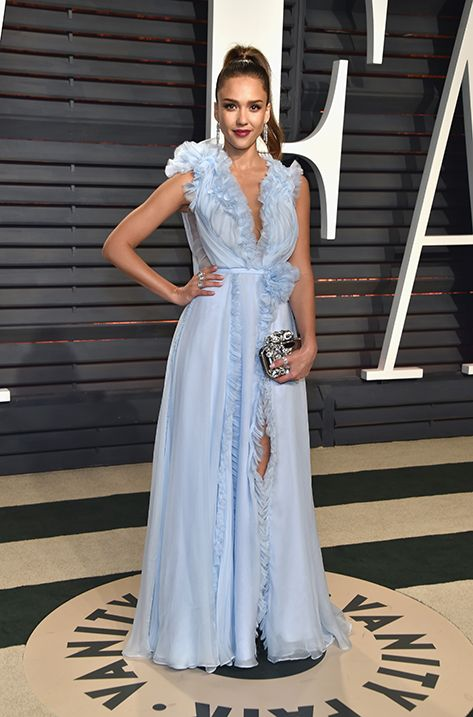 Jessica Alba carrying CLOUD to the Vanity Fair Oscar Party in Los Angeles