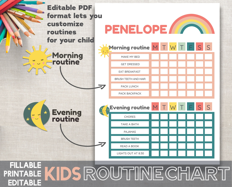 Kids Routine Chart Editable Printable Fillable Adobe PDF