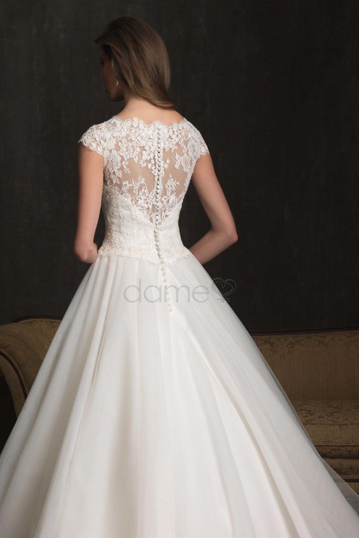 Prinzessin Kurze Armel Gekappte Armel Spitze Satin Aufgeblahtes Volle Lange Brautkleider Kleider Hochzeit Braut Hochzeitskleider Vintage