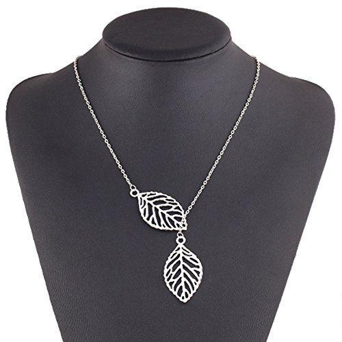 Tonsee 2015 neuves filles/alliage femmes simple collier double feuille métal