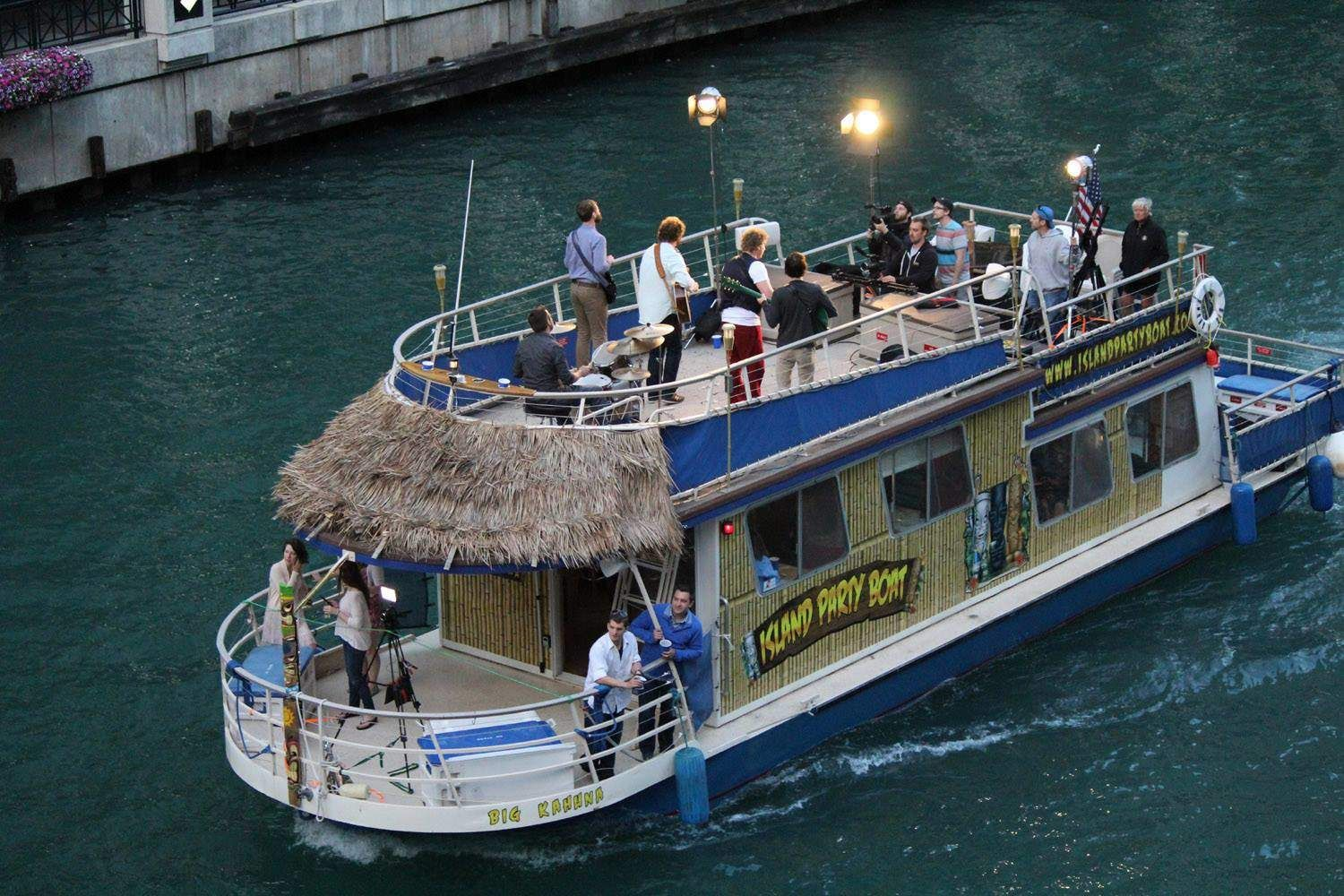 Island party boat rent a floating tiki bar in chicago