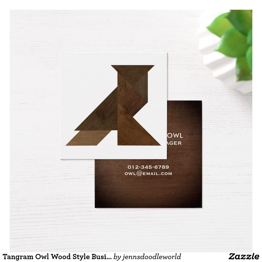 Tangram Owl Wood Style Modern Design Square Business Card