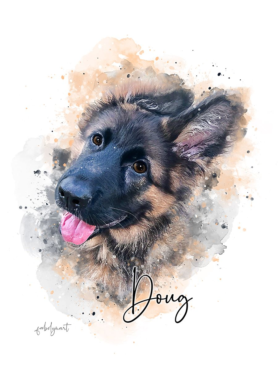 Custom Dog Portrait Digital Portrait Of Dog Watercolor