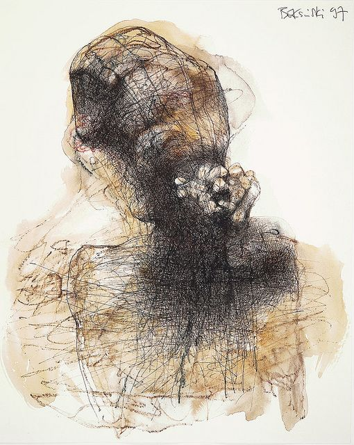 Beksinski, Zdzislaw (1929-2005) - 1997 Untitled Drawing    Ball-point, watercolor.    Zdzisław Beksiński was a renowned Polish painter, photographer, and sculptor who is best known as a fantasy artist.