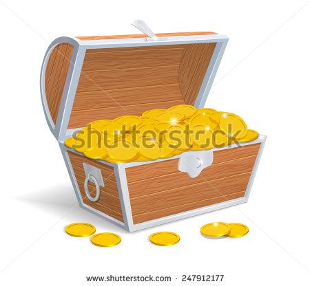 Wood chest full with gold coins. Vector illustration - stock vector