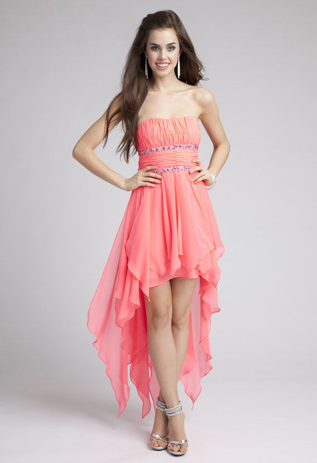 Prom Dresses 2013 - Strapless Hanky Hem Dress with Sequin Trim from ...
