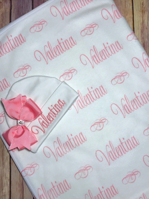 Baby Blanket Baby Shower Gift Idea Newborn Girl Monogram Personalized