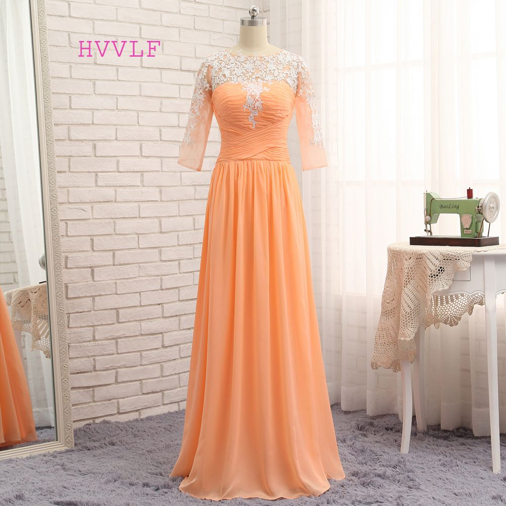 Hvvlf orange evening dresses aline half sleeves chiffon