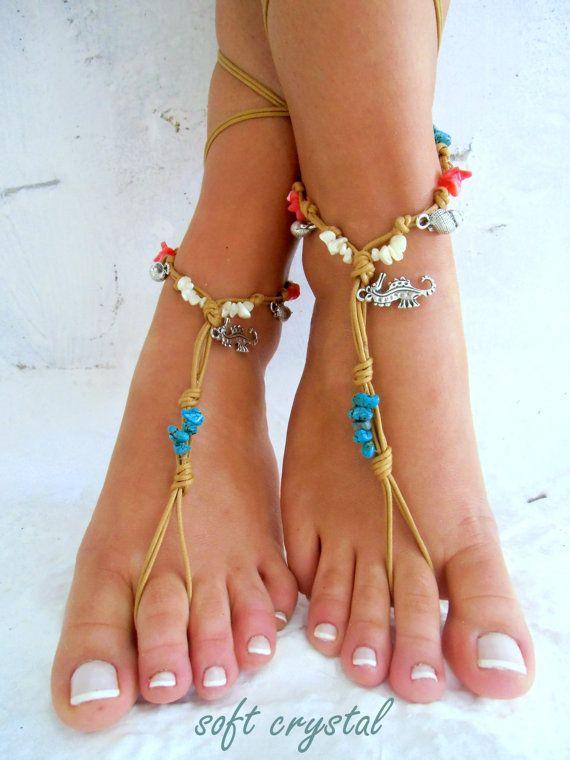 Barefoot Sandals Barefoot Beach Jewelry barefoot sandal, Hippie Sandals Foot Jewelry Toe Thong
