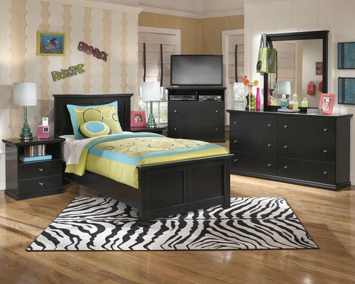 Ashley Maribel Black 7 Pc Dresser, Mirror, Twin Panel Bed  2