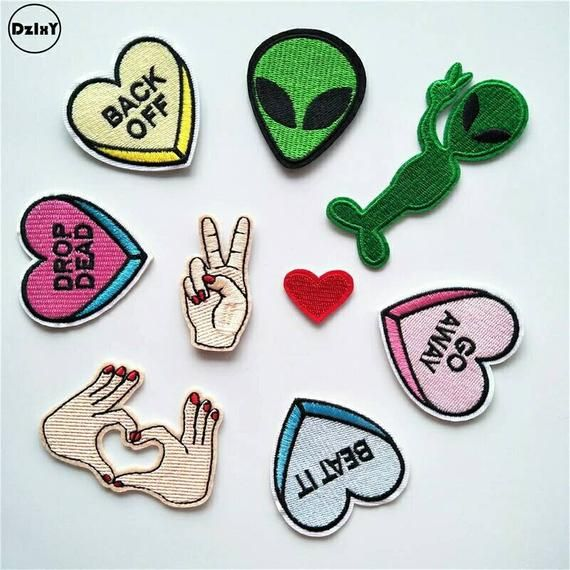 1 PCS Finger parches Embroidered Iron on Patches for Clothing DIY Stripes Alien