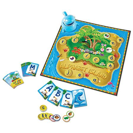 Alphabet Island™ A Letter & Sounds Game Join the island adventure where players race to match upper- and lowercase letters. Watch out for the hungry shark, or you'll lose a letter! Keep your eyes peeled for the helpful crab and tricky starfish. Collect the most letters, and win! For an added challenge, flip the lowercase letter discs over to reveal picture words, and match beginning sounds to uppercase letters.