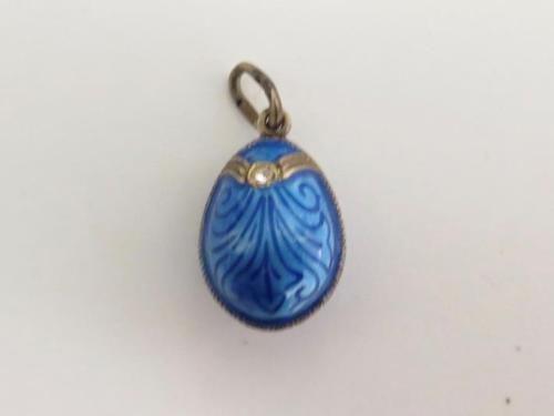 Antique-Sterling-Silver-Enamel-Egg-Charm-Geometric-Design-Clear-Paste