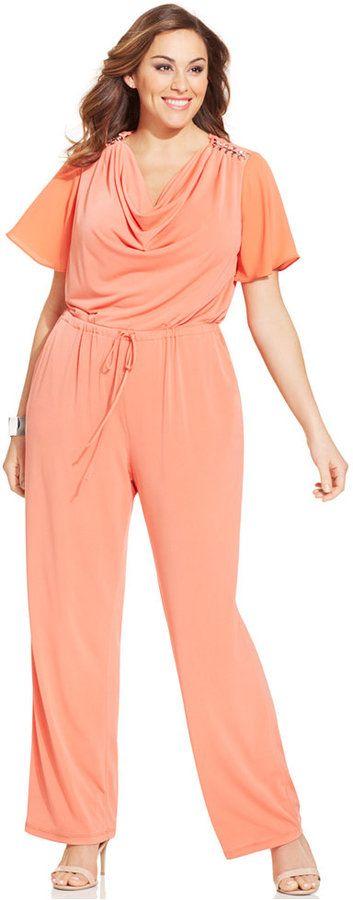 NY Collection Plus Size Chain-Trim Wide-Leg Jumpsuit