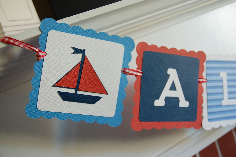 Sailboat Theme Banner Sailboat Banner First Birthday Sailboat Party Banner Sailing Party Boy Birthday Sailboat Birtdhay Party