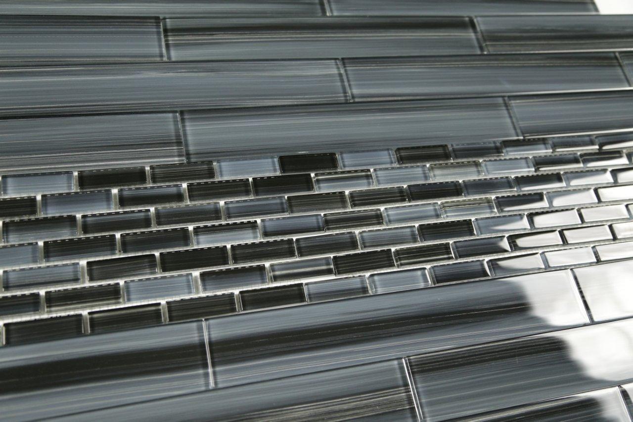 Dark gray black 2x12 subway glass tile for kitchen backsplash or dark gray black 2x12 subway glass tile for kitchen backsplash or dailygadgetfo Gallery