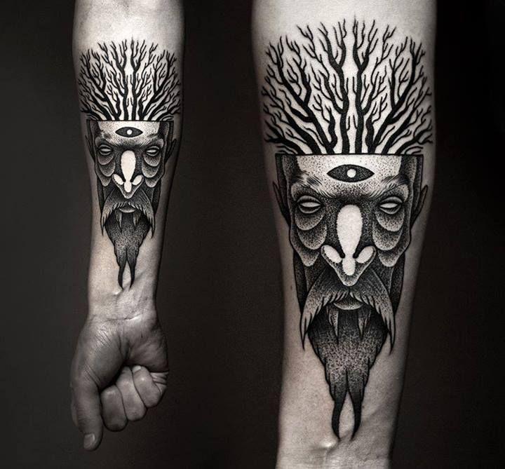 beard tattoo by kamil czapiga beards bearded man men trees nature tattoos tattooed forest arm. Black Bedroom Furniture Sets. Home Design Ideas