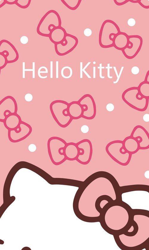 Image Via We Heart It Cute Kitty Kawaii WallpaperPink Hello Wallpaper IphoneBow