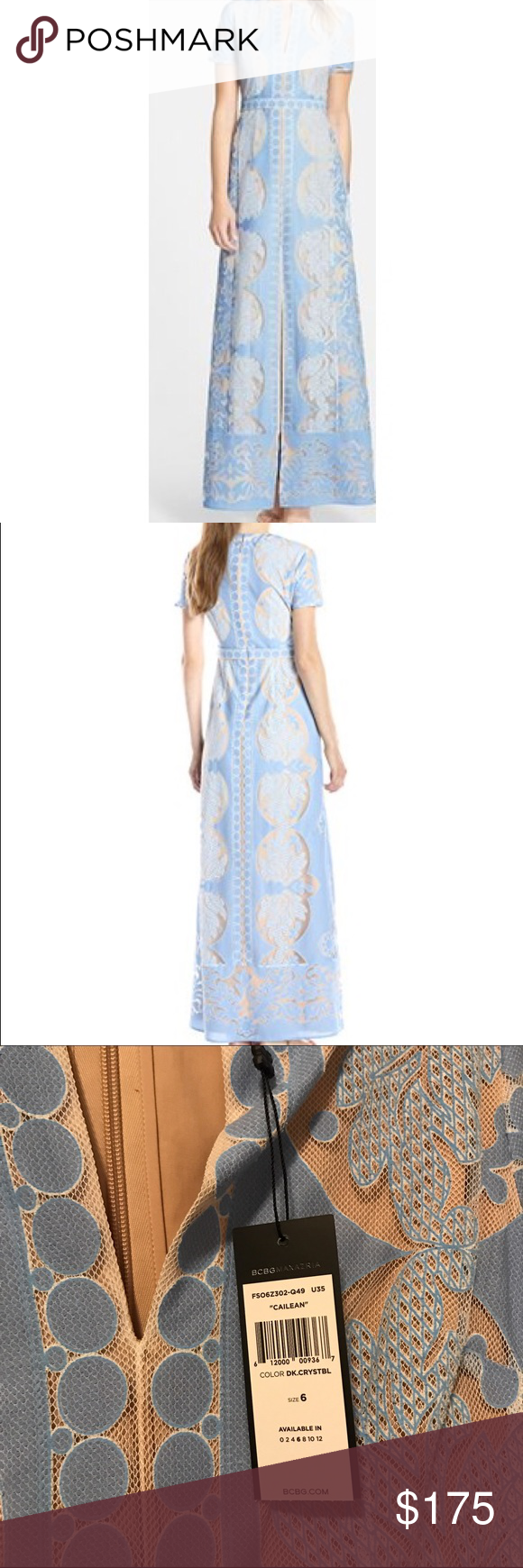 "BCBGMaxazria Cailean short sleeve lace dress NWT NWT - elegant lace Maxi dress fashioned with original medallion-style lace and seductive peek-a-boo lining details. Concealed back zipper. About 59"" from shoulder to hem. BCBGMaxAzria Dresses Maxi"