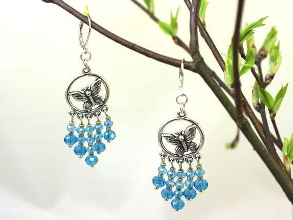Aqua Blue Swarovski Butterfly Earrings Silver by SalixCinerea