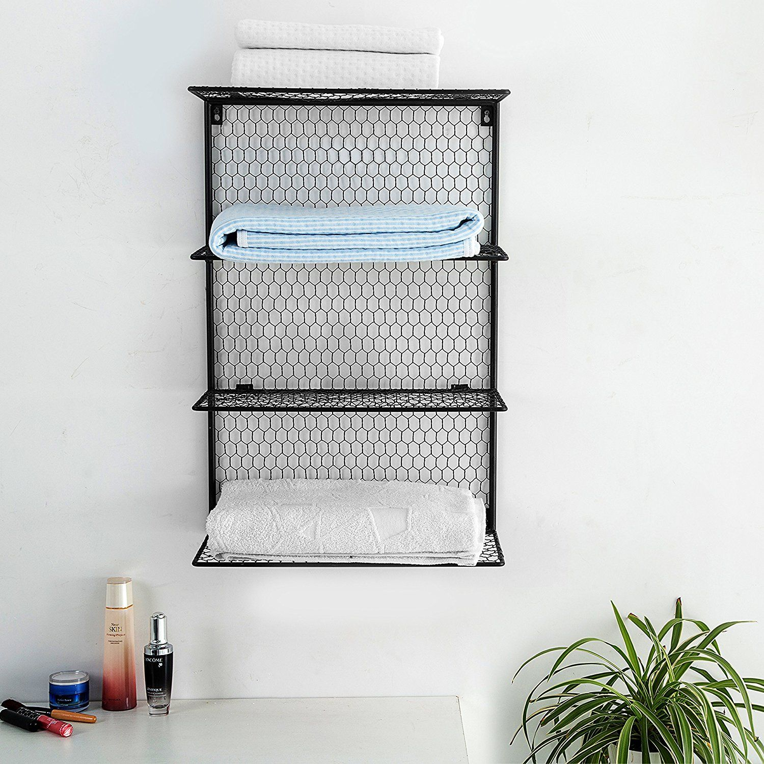 Simple And Attractive 4 Tier Wall Mounted Metal Chicken Wire Mesh Bathroom Towel Storage Shelving Unit Towel Storage Bathroom Towel Storage Storage Shelves