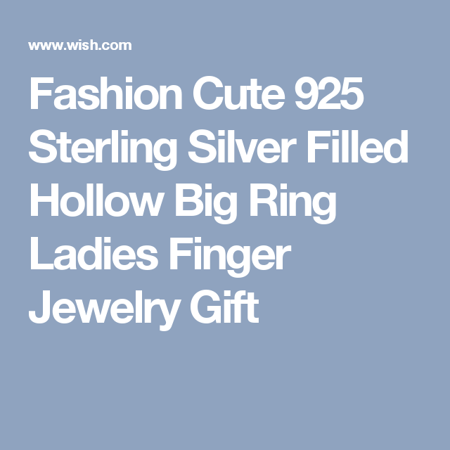 Fashion Cute 925 Sterling Silver Filled Hollow Big Ring Ladies Finger Jewelry Gift
