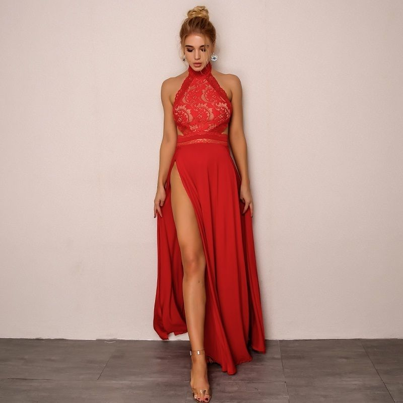 77035206633 CLICK on the photo TO SHOP this beautiful red sexy dress  ) New red elegant  lace top sexy backless maxi women long slit dress spring summer high slit  halter ...