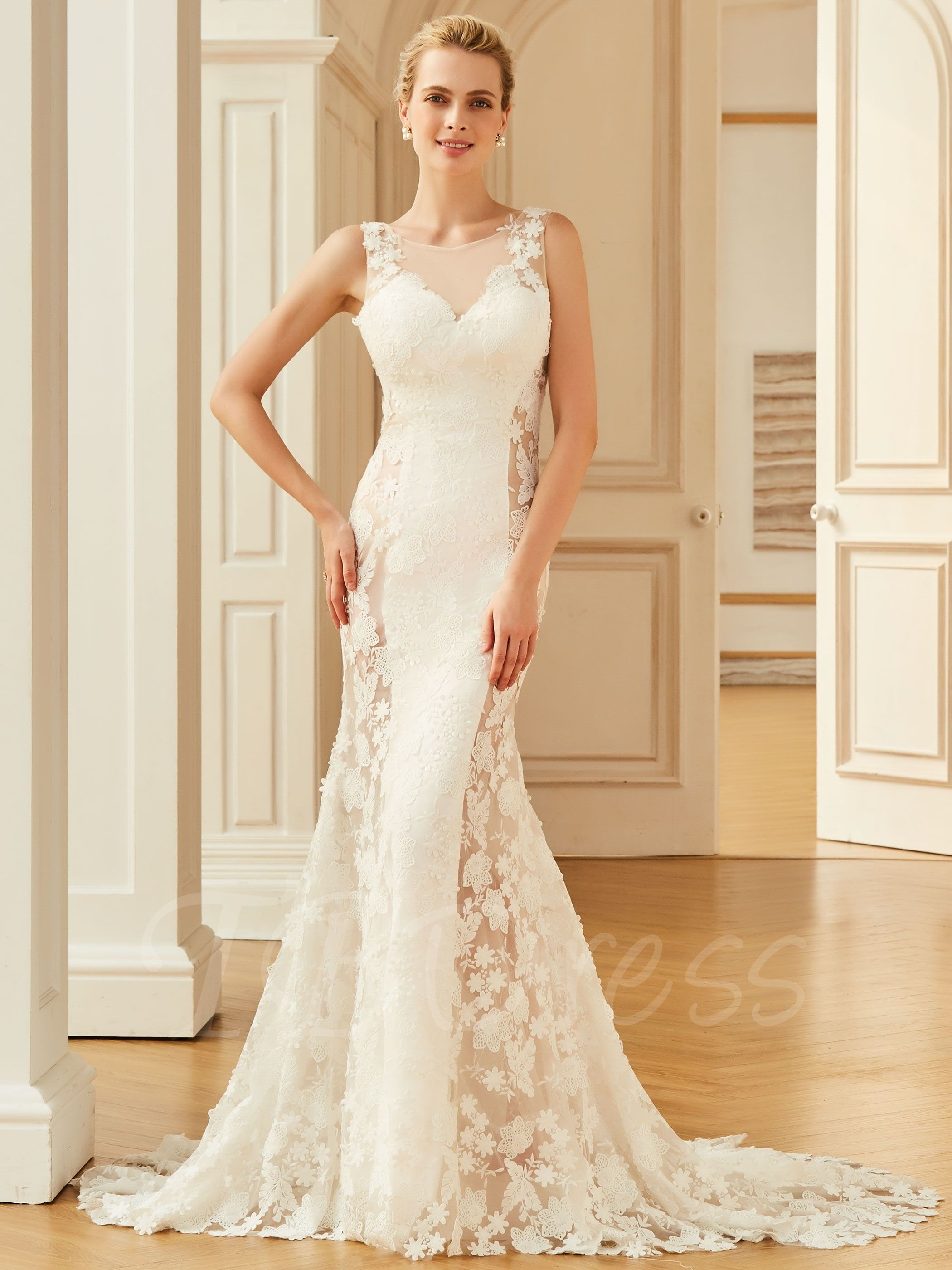 Lace wedding dress with train  Backless Lace Court Train Mermaid Wedding Dress  Mermaid wedding