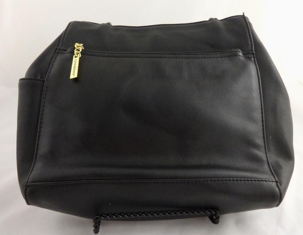 Giani Bernini Black Leather Handbag Purse Shoulder Bag Cell Phone Pocket Gianibernini Shoulderbag